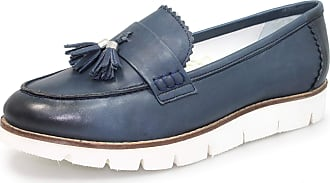 Lunar Levato Ladies Leather Wedge Moccasin 8 UK Navy