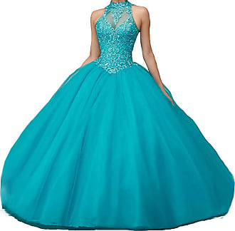 Generic JJL Girls Sweet 16 Quinceanera Dresses Sheer Neck Ball Gown Princess Prom Gowns Jade