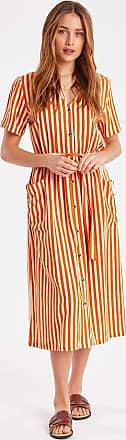 Ichi IHJulle Kleid in Jaffa Orange - Viscose/ Cotton/ Linen/ Stripped/ White & Orange   40