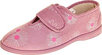 Footwear Studio Dunlop Womens Faux Suede Hook and Loop Slippers Ladies Fleece Lined House Slipper Pink UK 5