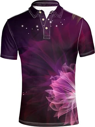 Hugs Idea Mens Polos Shirt Sport Short Sleeve Abstract Flower Design T-Shirt Clothing