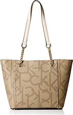 Calvin Klein Hayden Signature East/West Top Zip Chain Tote, large khaki/brown