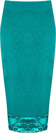 The Celebrity Fashion Womens Floral Lace Pencil Midi Skirt Ladies Bodycon Tube Office Plus Sizes 8-22 Turquoise