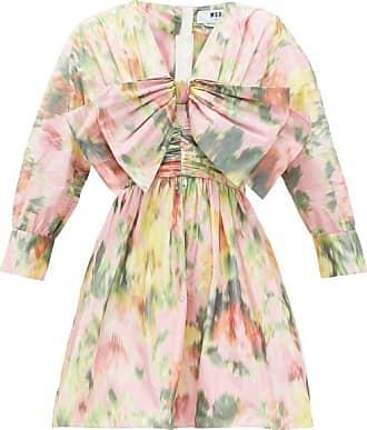 Msgm Bow-trimmed Floral-print Taffeta Mini Dress - Womens - Pink Print