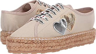 Love Moschino Canvas Espadrille w/ Hearts (Beige) Womens Shoes