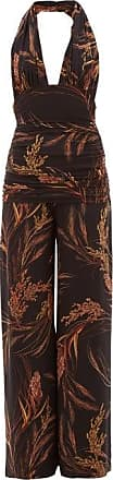 Norma Kamali Bill Halterneck Wheat-print Jersey Jumpsuit - Womens - Brown Print