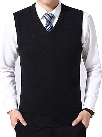 Yidarton Mens Winter V Neck Sleeveless Jumpers Classic Business Knitted Gilets Vest Tank Sweater (Black, XXL)