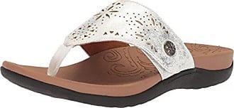 Rockport Womens Ridge Button Thong Sandal, Silver, 10 M US