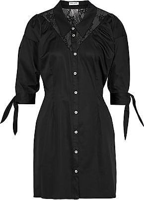 Opening Ceremony Opening Ceremony Woman Lace-paneled Stretch-cotton Poplin Mini Shirt Dress Black Size 4