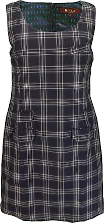 Relco Ladies Retro Tartan Pinafore Dress (14, Navy)