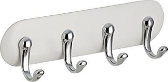 InterDesign AFFIXX, Peel and Stick Strong Self-Adhesive Key Storage Rack for Office, Entryway, Kitchen - 4 Hooks, White/Chrome