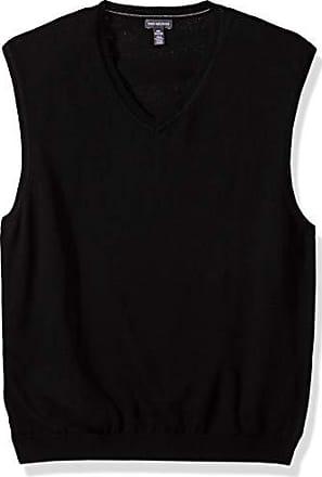 Van Heusen Mens Solid Sweater Vest 12GG, Black, Small