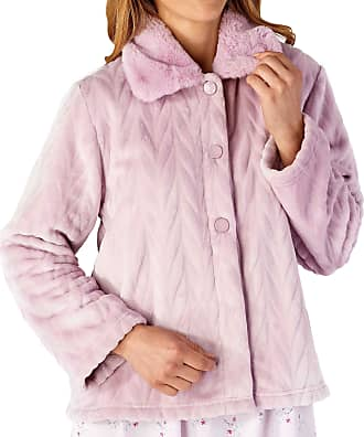 Slenderella Ladies Long Sleeve Thick Soft Pink Velvet Fleece Button Up Bed Jacket with Faux Fur Collar Size 16 18