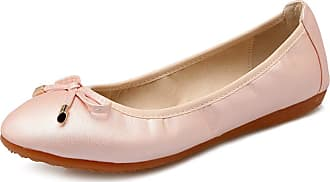 Daytwork Shoes Women Ballet Flats - Pumps Round Toe Bow Classic Prom Slip on Comfort Loafers Dress Boat Shoes Pink