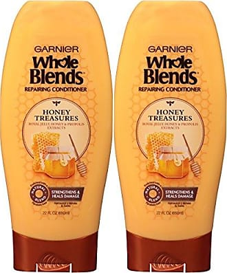 Garnier Whole Blends Honey Treasures Repairing Conditioner for Dry Damaged Hair, 22 Ounce Bottle, 2 Count
