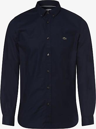 Lacoste Hemd Marineblau Sky Ch4975 Baumwolle Oxford mit Kurzen Ärmeln Weiß