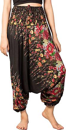 Lofbaz Womens Floral Printed Smock Waist 2 in 1 Jumpsuit Pants Black M