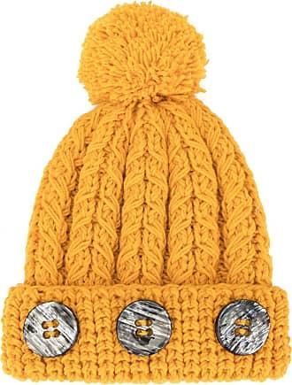 0711 pompom knit beanie - Yellow