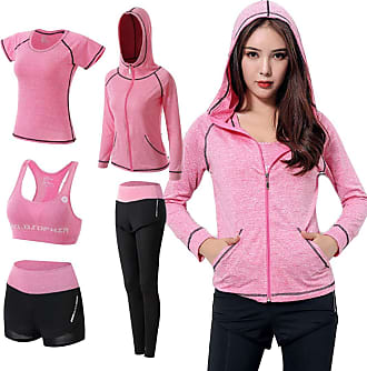 Inlefen Womens Tracksuit Yoga Sport Clothing Suits Hooded Coat Sweatshirt Two Pants Running Athletic 5pcs Sets(Pink/3XL)