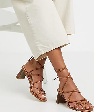 Z_Code_Z Exclusive Orlena vegan stacked heel ankle tie sandals in tan