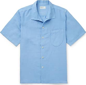 Universal Works Overdyed Linen And Cotton-blend Shirt - Blue