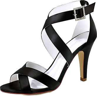 Elegantpark HP1705 Wedding Sandals for Women Strappy Sandals High Heels Peep Toe Buckle Satin Wedding Bridal Shoes Evening Party Shoes Black UK 7(EU 40)