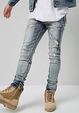 21 Men KDNK Distressed Ankle-Zip Skinny Jeans at Forever 21 Blue