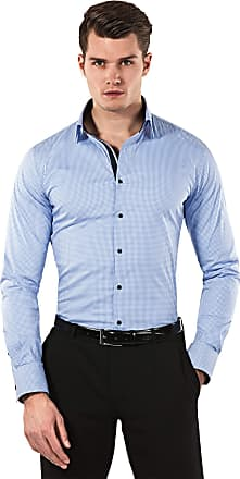 Vincenzo Boretti Mens Shirt Slim-fit Fitted Kent Collar Classic Design Check Pattern Cotton-Stretch Long-Sleeve Designer Shirts for Men Formal Office Wedding Ideal wit