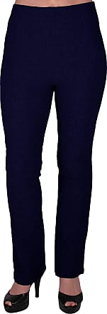 Eyecatch Womens Pull On Ribbed Stretch Bootleg Elasticated Trousers Ladies Pants Regular Leg Navy Size 16