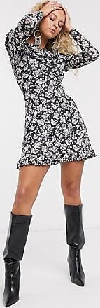 Topshop long sleeve mesh mini dress in mono-Black