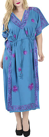 La Leela Women Long Kaftan Rayon Solid Relaxed Caftans Free Size Maxi Dress Embroidered Ladies Casual Sleepwear Blue_T361 [OSFM] UK: 16 (L) - 26 (2XL)
