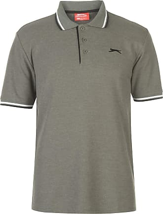 Slazenger Mens Tipped Polo Shirt Classic Fit Tee Top Short Sleeve Button Placket Khaki Marl S