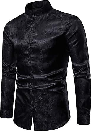 Whatlees Mens Vintage Long Sleeve Paisley Symmetric Design Dress Shirts Button Down Black 02010200XBlack+XL