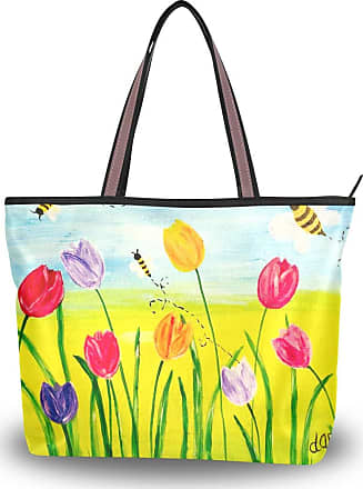 Lorona Women Tulips With Bees Art Painting Canvas Shoulder Hand Bag Large Capacity Tote Bag