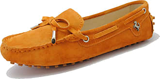 Minitoo Driving Shoes Womens Knot Slip-on Orange Suede Casual Loafers Boat Shoes UK 2.5