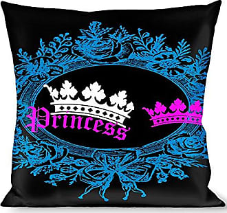 Buckle Down Pillow Decorative Throw Crown Princess Oval Black Turquoise