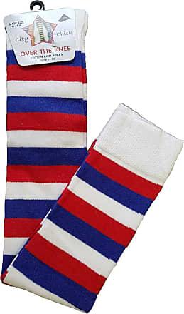 21Fashion Womens Over The Knee Socks Plain & Striped Thigh High Adults Stretchy OTK Socks Blue/White/Red Stripe 4-6.5 (12 Pairs)