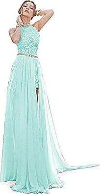 064b4764029f71 MisShow Damen Ballkleid Brautjungfernkleid Neckholder Rückenfrei Abendkleid  Cocktailkleid mit Strass Schlitz Mintgrün 34