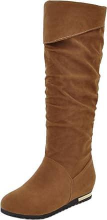 RAZAMAZA Women Winter Casual Low Heels Slouchy Knee High Boots (42 AS, Brown)