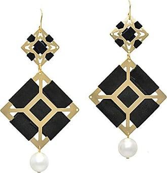 Tinna Jewelry Brinco Dourado Quadrados Vazados Com Camurça
