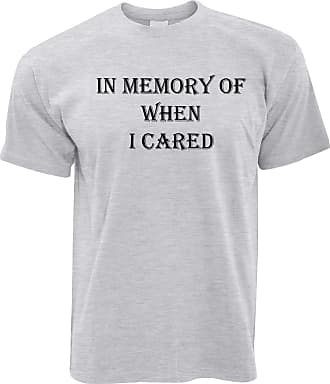 Tim And Ted Novelty Slogan T Shirt in Memory of When I Cared - (Grey/XXXXX-Large)