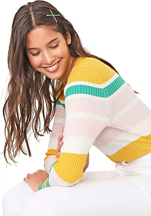 Only Blusa Only Tricot Listrada Amarela