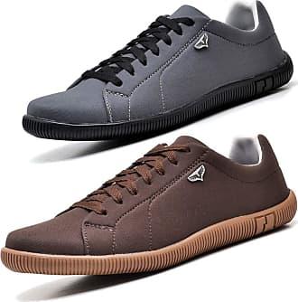 Juilli Kit 02 Pares de Sapatênis Sapato Casual Com Cadarço Masculino JUILLI 920DB Tamanho:38;cor:Marrom;gênero:Masculino