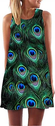 Ocean Plus Ladies Summer Sleeveless Colorful Tops Dresses Peacock Flowers Beach Dresses Owl Short A Line Women Dress Cover Up (XXL (UK 14-16), Peacock)
