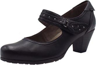 Jana Secrets Wide Fit Smart-Casual Mary-Jane Mid Heel Shoes in Black 39 Black