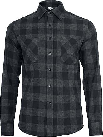 78a4fc6acdc6 Urban Classics Rutig flanellskjorta - Herr-Longsleeve - svart|grå