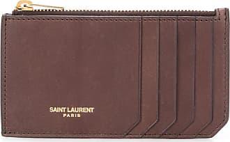 Saint Laurent Porta-cartões Fragments com zíper - Marrom