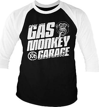 Gas Monkey Garage Officially Licensed Tire Tracks Baseball 3/4 Sleeve T-Shirt (White-Black), XXL