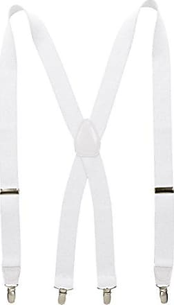 Wembley Mens 32 mm Solid Stretch Suspender, White, One Size