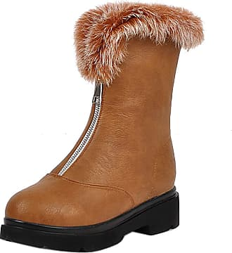 RAZAMAZA Women Fashion Square Heel Short Boots Zip Dress Boots Collar Winter Shoes Ankle Boots Brown Size 36 Asian